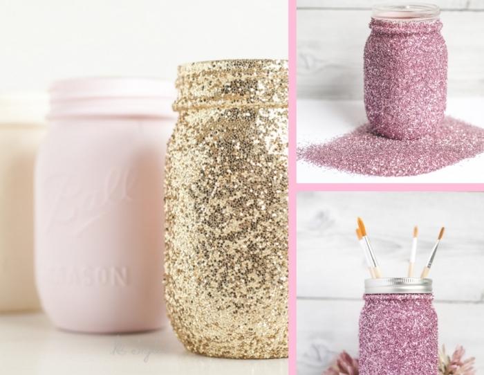 accessoires et objets décoratifs diy pour la déco de la chambre fille ado, bocaux peints en glitter doré et rose