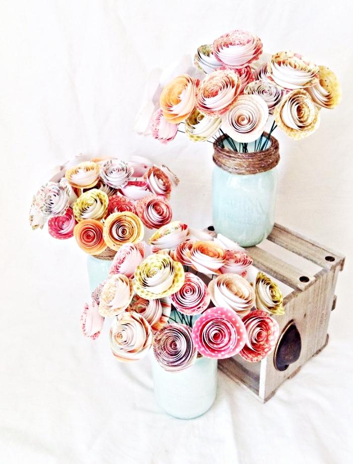 art de papier pour la déco de la chambre fille ado, comment faire un bouquet de fleurs en papier coloré