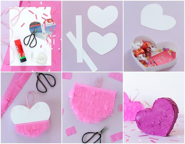 petite boite en carton pinata décorée de papier coloré et frangé en forme de coeur, bricolage simple et rapide