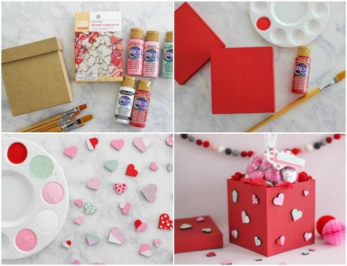 idée de boite en carton repeinte en rouge et décorée de coeurs en bois décoratifs avec des bonbons dedans, cadeau st valentin pour elle
