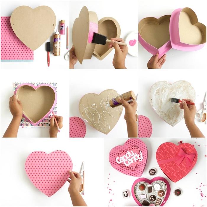 boite a bonbons en forme de coeur décorée de papier rose et des bonbons au chocolat dedans, idée cadeau copine a faire soi meme