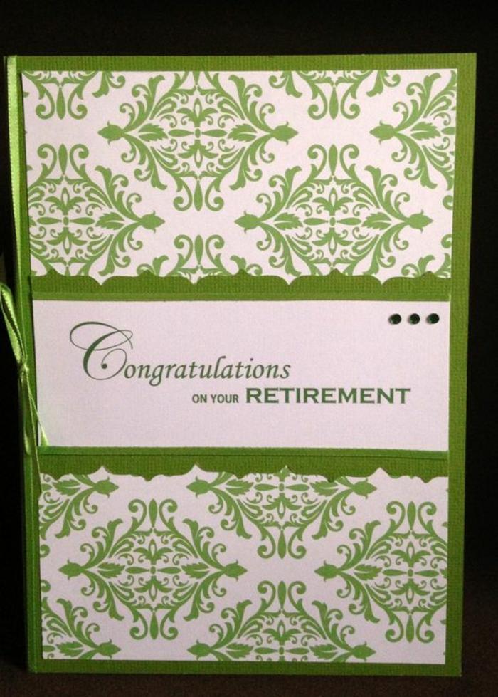 départ à la retraite, lettre depart retraite, Congratulations, Félicitations, carte en blanc et vert, avec des motifs décoratifs arabesques