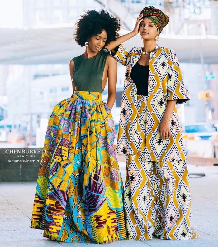idée coiffure avec foulard africain aux cheveux attachés, modèle de jupe africaine longue avec poches et taille haute