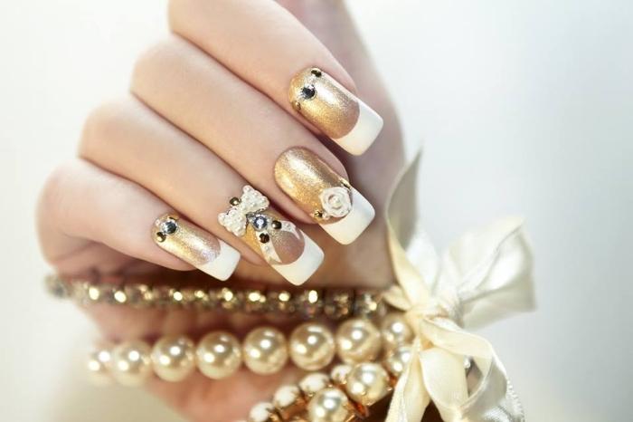 quelle manucure choisir pour son mariage, manucure française blanc et or sur ongles longs avec déco papillon 3D