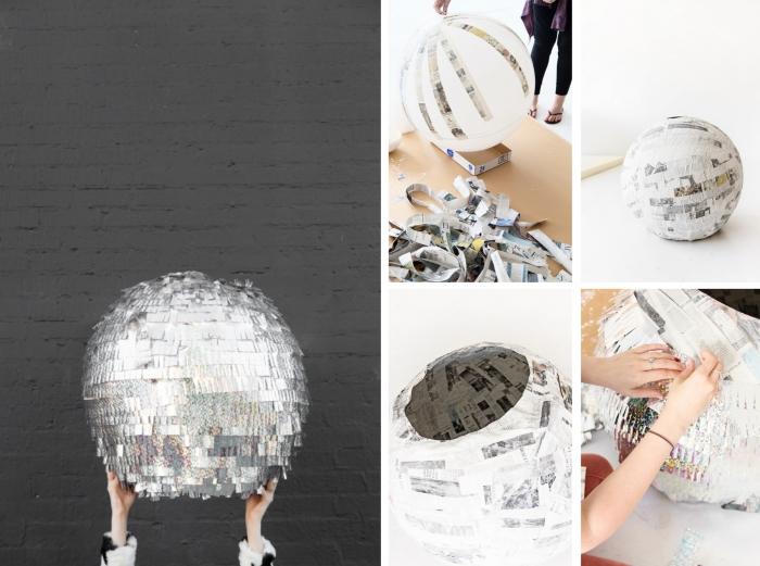 projet créatif diy déco chambre avec disco boule en papier, objet décoratif à design rétro