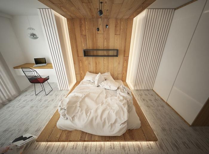 quelle couleur pour chambre homme, pièce moderne à design minimaliste avec tête de lit en bois jusqu'au plafond