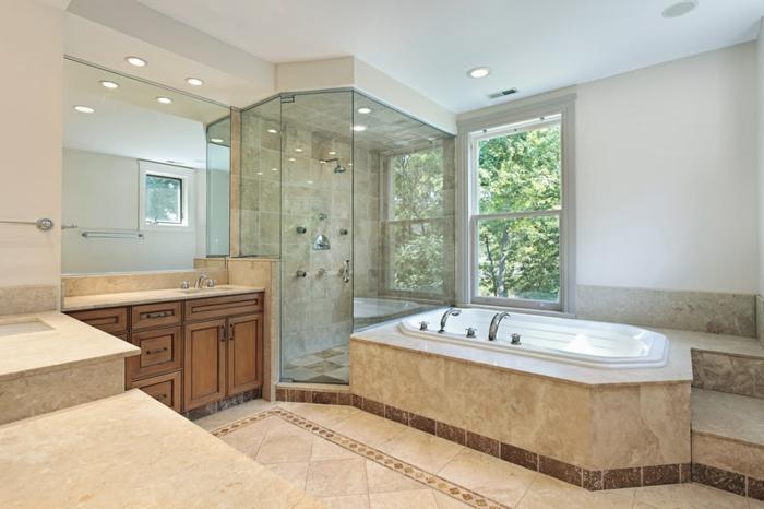 douche d'angle, salle de bain beige, cabine de douche d'angle en verre