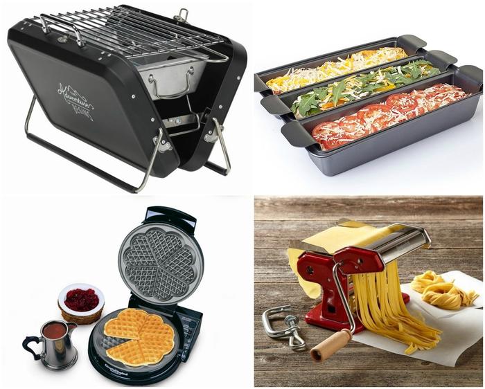 cadeau de saint valentin pour un homme qui aime passer des heures dans la cuisine, un barbecue portable en forme de valise, un triple moule à lasagne, un gaufrier et une machine à pâtes