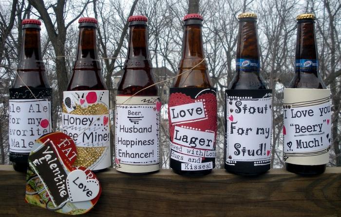 idée cadeau pour homme amateur de la bière, des bouteilles de bières personnalisées avec des étiquettes à messages d'amour