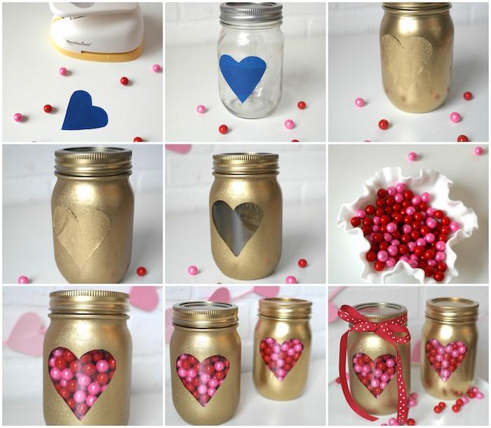 exemple de cadeau saint valentin femme en bocal en verre, décoré de peinture or et peinture à paillettes dorées et motif fenêtre en coeur, boite a bonbons diy