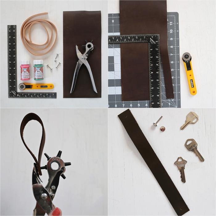 tuto pour faire un porte-clé en cuir au design simple et élégant, idée cadeau homme à faire soi-même