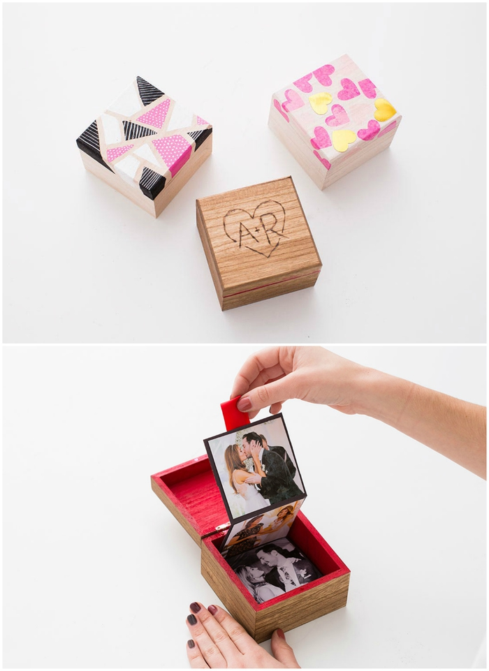 idée originale pour un cadeau de saint-valentin à faire soi-même, une boîte en bois personnalisée avec des initiales à offrir avec un mini-allbum en accordéon