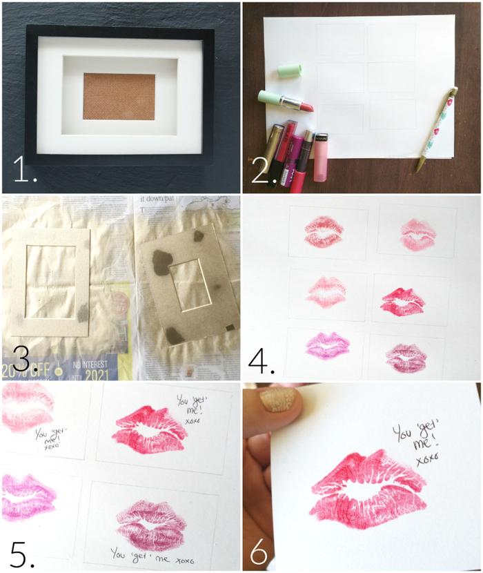 idée de cadeau pour homme romantique que vous pouvez réaliser facilement à la maison, tuto cadre personnalisé à empreinte de rouge à lèvres