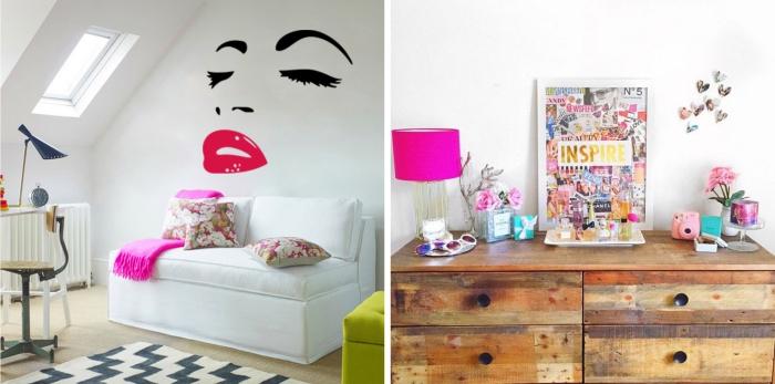 idée déco chambre cocooning et glamour, stickers autocollants à design fashion pour chambre fille