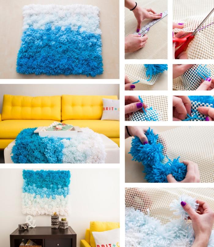 étapes à suivre pour décorer la chambre fille ado avec un tapis en pompons ombré, modèle de canapé jaune à dos boutonné