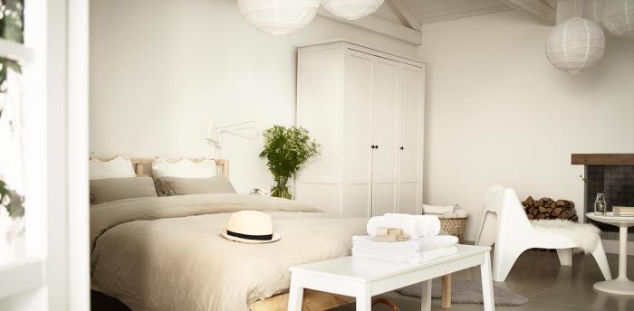 garde-robe blanche dans chambre a coucher adulte au plafond de bois, déco cocooning avec cheminée et plante verte