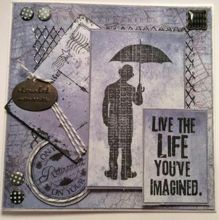 depart retraite, carte de retraite, bonne retraite, gentleman avec un parapluie ouvert, carte dans un style rétro en blanc et noir