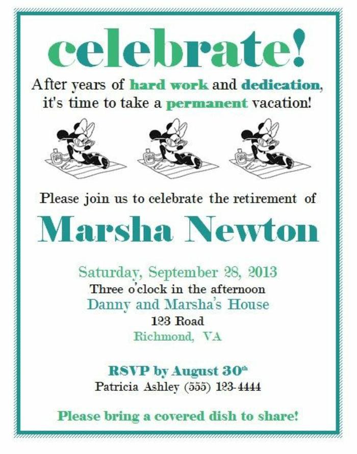 lettre depart retraite, carte de retraite, invitation pour faire la fête de Marsha Newton, veuillez nous joindre pour célébrer sa retraite