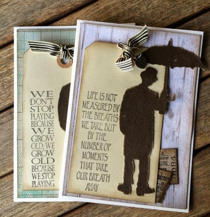 carte de retraite, bonne retraite, un gentleman avec un parapluie, les moments de la vie qui nous coupent le souffle