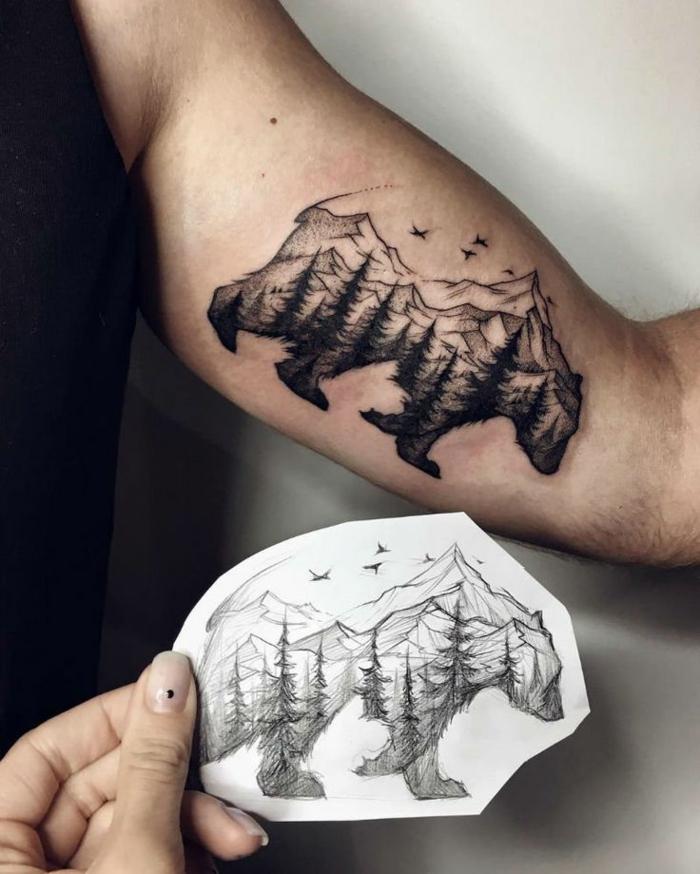 Original tatouage les plus beau tatouage simple tatouage petit montagne dans silhouette d ourse