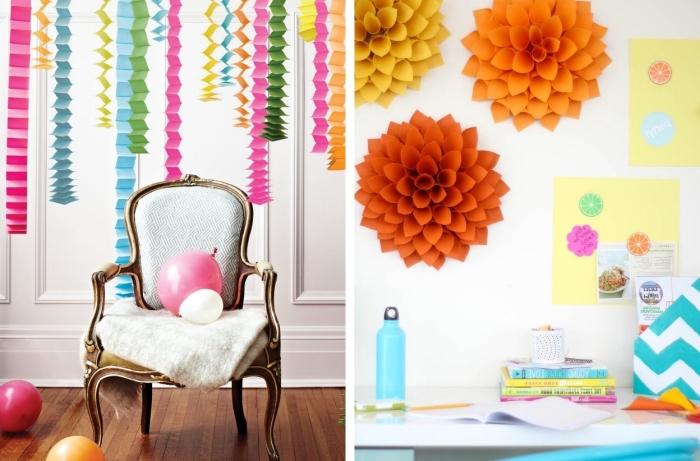 comment décorer sa chambre avec créations en papier, modèle de chaise baroque en blanc et or