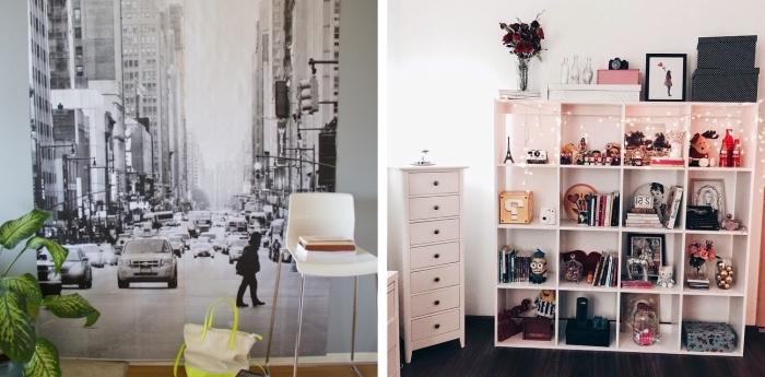 idée déco chambre ado avec papier peint à design blanc et noir sur le mur, modèle de rangement décoré avec guirlande lumineuse