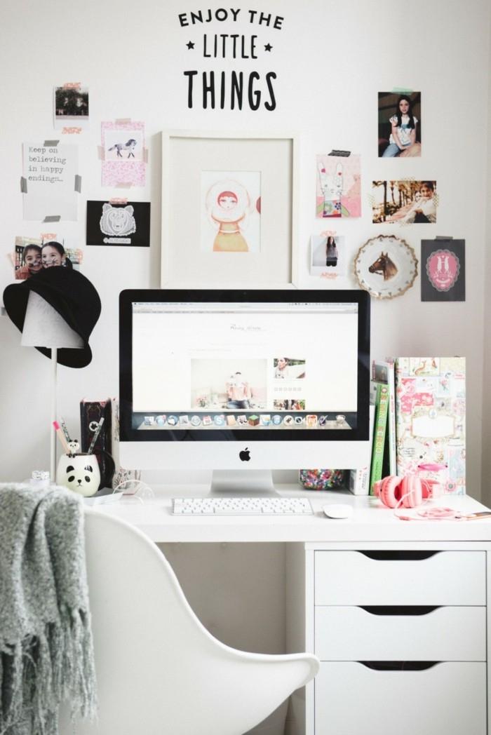 deco chambre fille ado avec bureau et chaise blancs, photos et cadres photo pour décoration murale