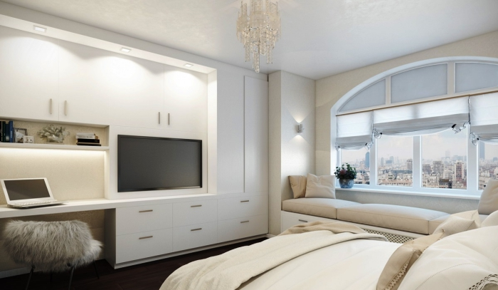 idée pour la chambre design moderne avec coin de lecture sous fenêtre, bureau et tiroirs encastrés blancs