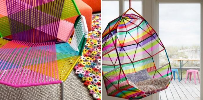 objets décoratifs colorés pour la deco chambre ado, chaise suspendue avec coussins en faux fur beige