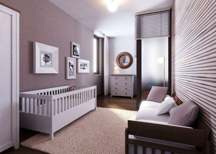 chambre bébé complete pas chere, tapis couleur taupe, lit bébé blanc, commode blanche