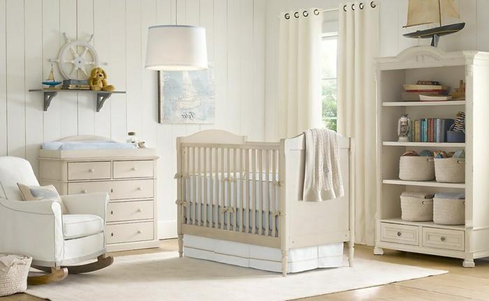 chambre bébé complete pas chere, fauteuil blanc, tapis blanc, lambris blanc
