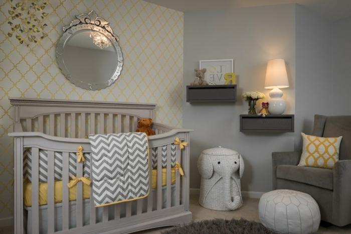 chambre d'enfant, miroir mural rond, étagères mignonnes, lampe charmanten pouf marocain