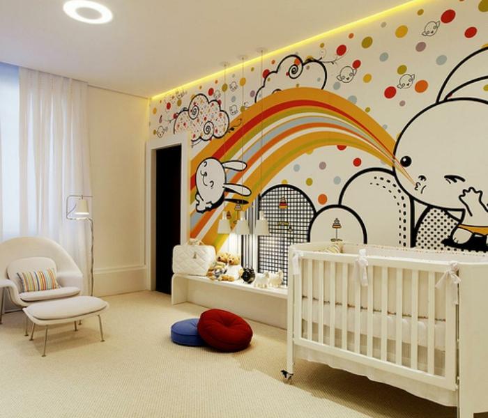 chambre d'enfant, papier peint avec dessins miraculeux, lapins et arc-en-ciel