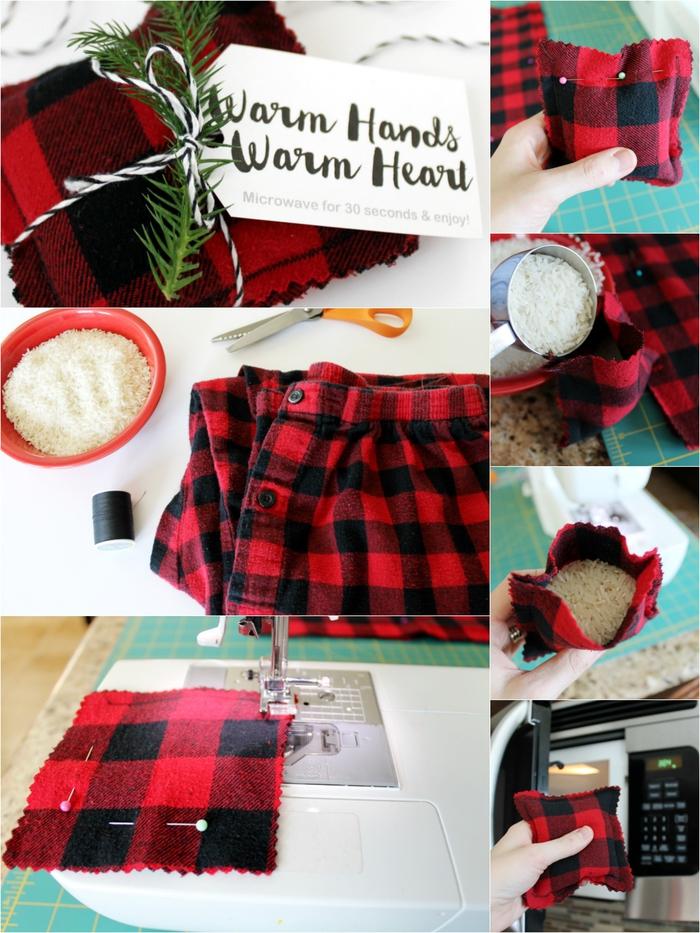 une bouillotte réutilisable en chemise à carreaux recyclée, un cadeau st valentin pour l'homme qui a toujours froid aux mains