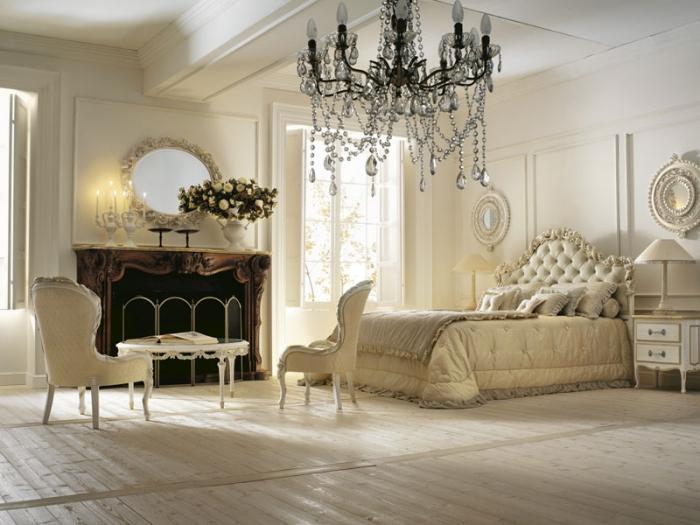 comment intégrer la couleur ecru dans la chambre à coucher aux murs et plafond blanc avec déco en style baroque et vintage