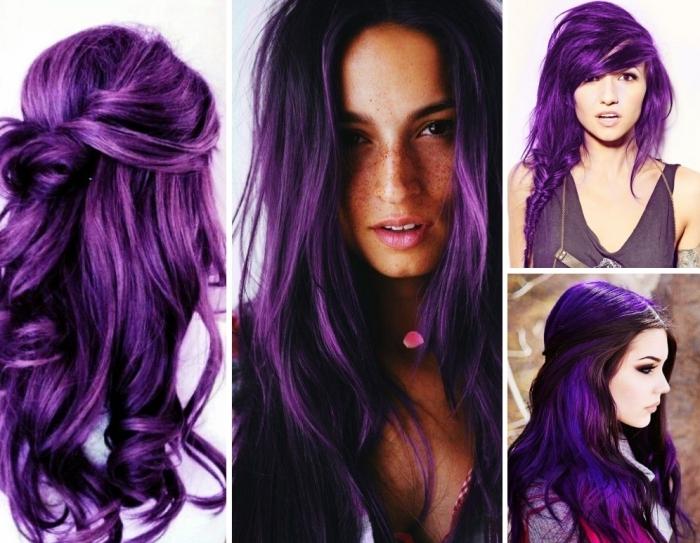 coiffure aux cheveux prune foncé mi-attachés et bouclés, cheveux en tresse avec frange asymétrique de couleur violet