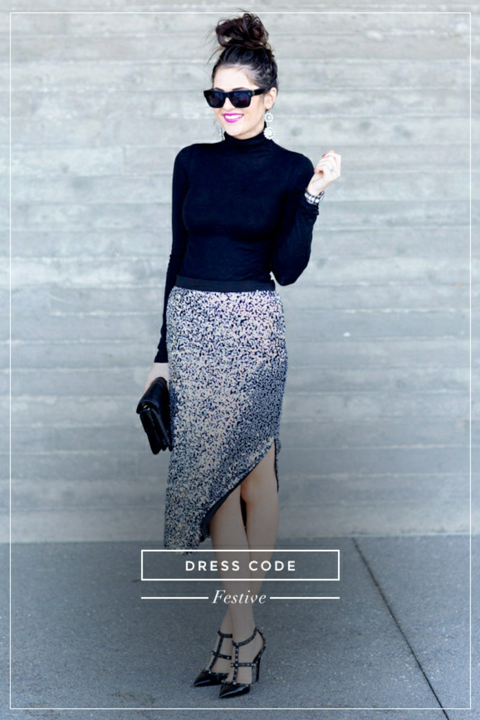Superbe robe de soirée longue tenue chic femme moderne top noir manches jupe pour reveillon avec paillettes