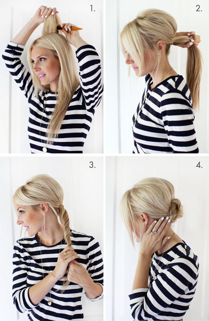 idée pour une coiffure facile et rapide avec chignon torsadé bas de nuque et un peu de volume sur le haut de la tête