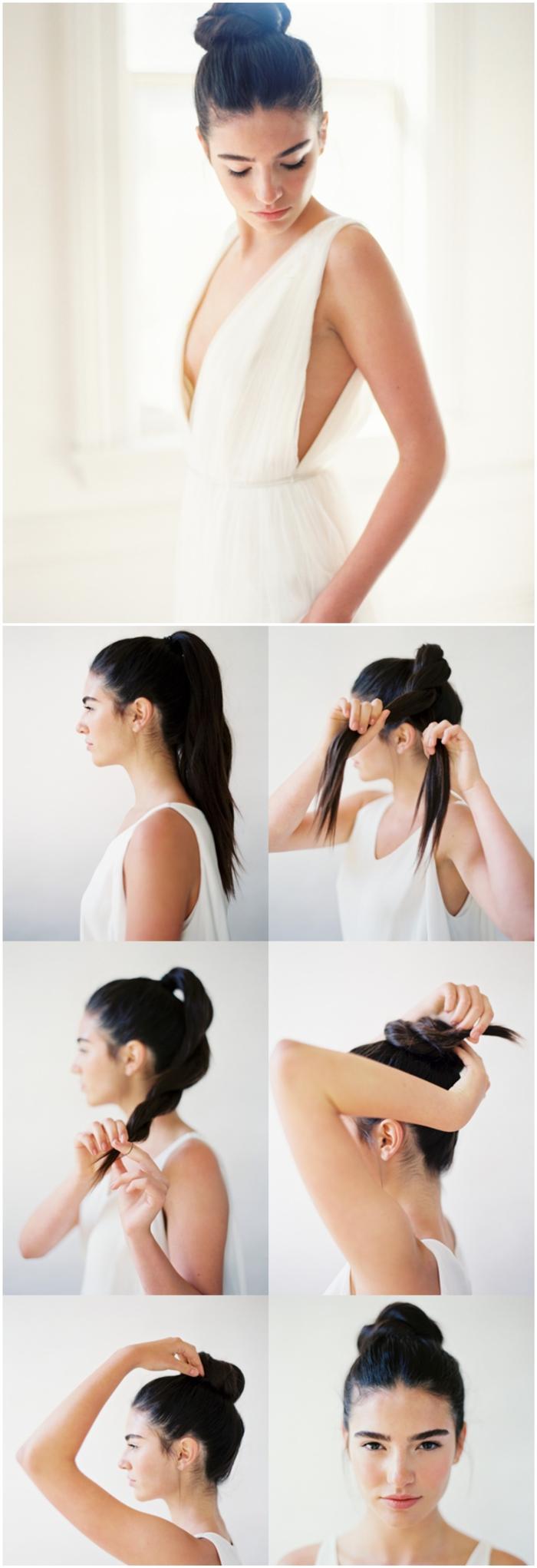 tuto chignon facile de danseuse pour les nuls en coiffure, idée pour une coiffure d'élégance intemporelle