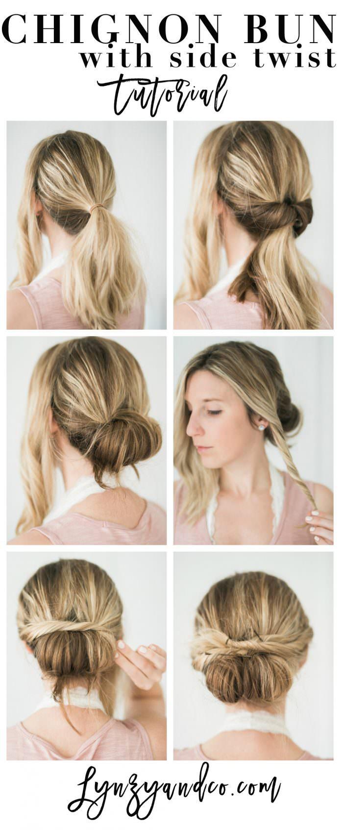 une coiffure romantique en torsade avec un chignon facile enroulé sur la nuque et des mèches torsadées fixées derrière la tête