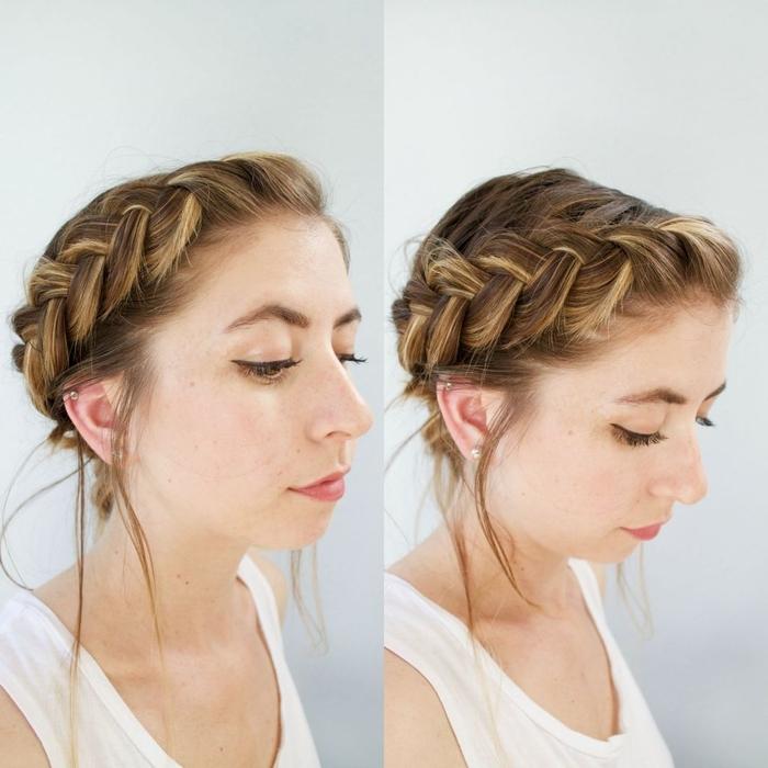 idée pour un chignon cheveux mi long effet décoiffé avec jolie tresse hollandaise de côté