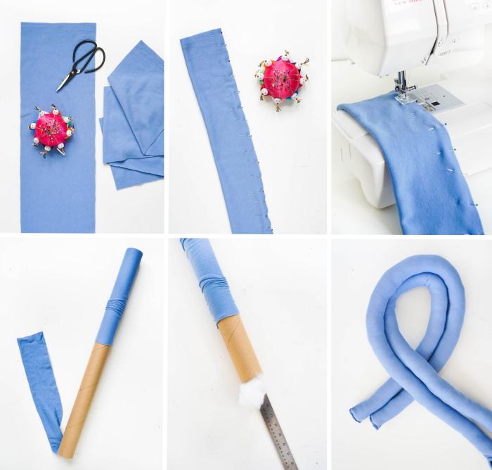 diy déco chambre, projet créatif pour faire un coussin minimaliste en forme noeud avec polyester