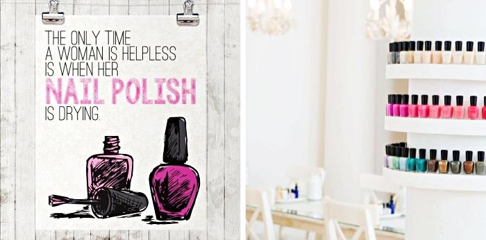 soins de beauté favorites de la femme, phrase inspirante pour le nail art, riche collection de bouteilles de vernis à couleurs variées
