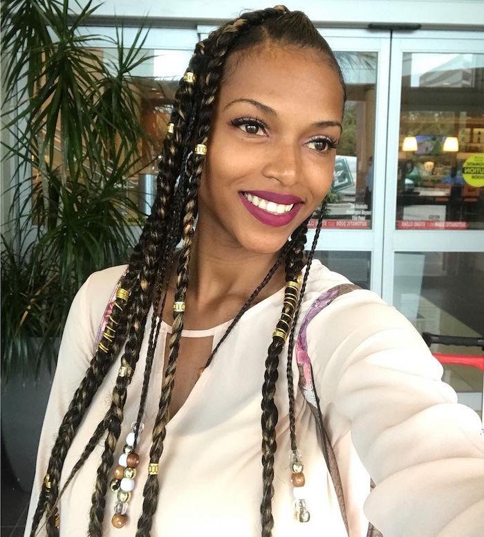 tutoriel tresse africaine longue avec bijoux cheveux