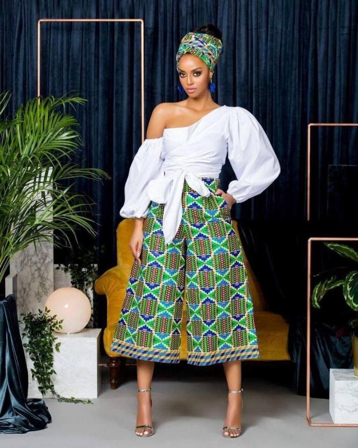 vêtement femme de style africain, modèle de pantalon large en tissu motifs ethniques, tenue femme en blanc et vert