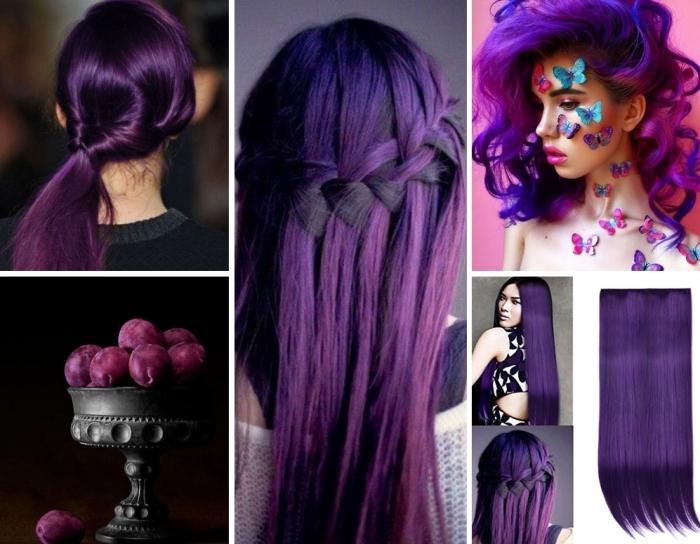 coloration violine de nuance foncé sur cheveux longs, coiffure de cheveux mi-attachés en couronne tresse