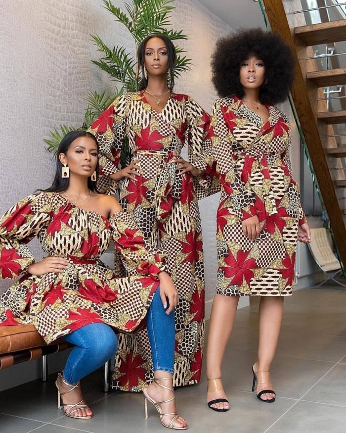 vetement africain pour femme moderne, exemple tissu africain, modèle de robe longue avec manches fluides
