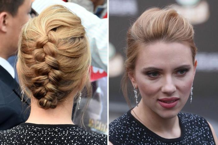 coiffure en tresse élégante, cheveux blonds chataîns, Scarlett Johansson en tenue de mariage