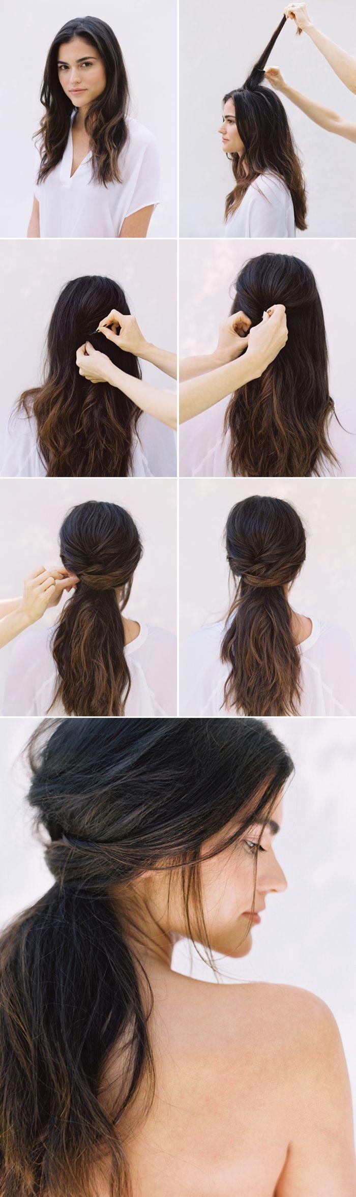 tuto coiffure facile, étapes à suivre pour faire une coiffure en cheveux mi-attachés avec mèches tombantes devant