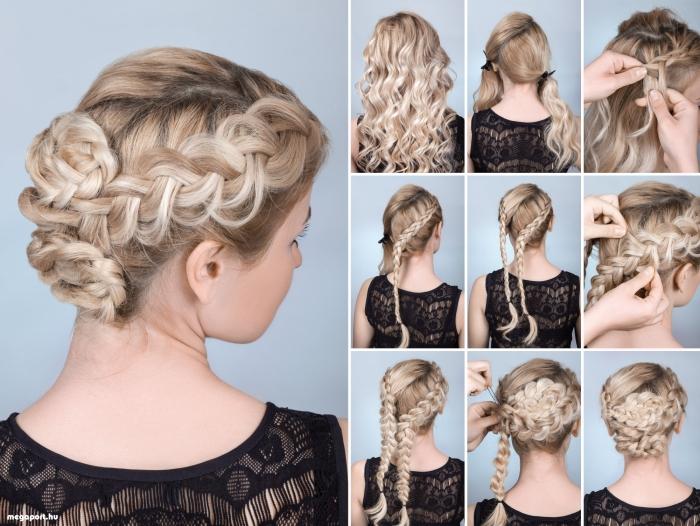 tuto coiffure tresse, étapes à suivre pour attacher les cheveux longs en deux tresse et former un chignon tressé